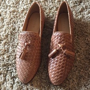 New Nisolo frida woven tan tassle loafer leather 7